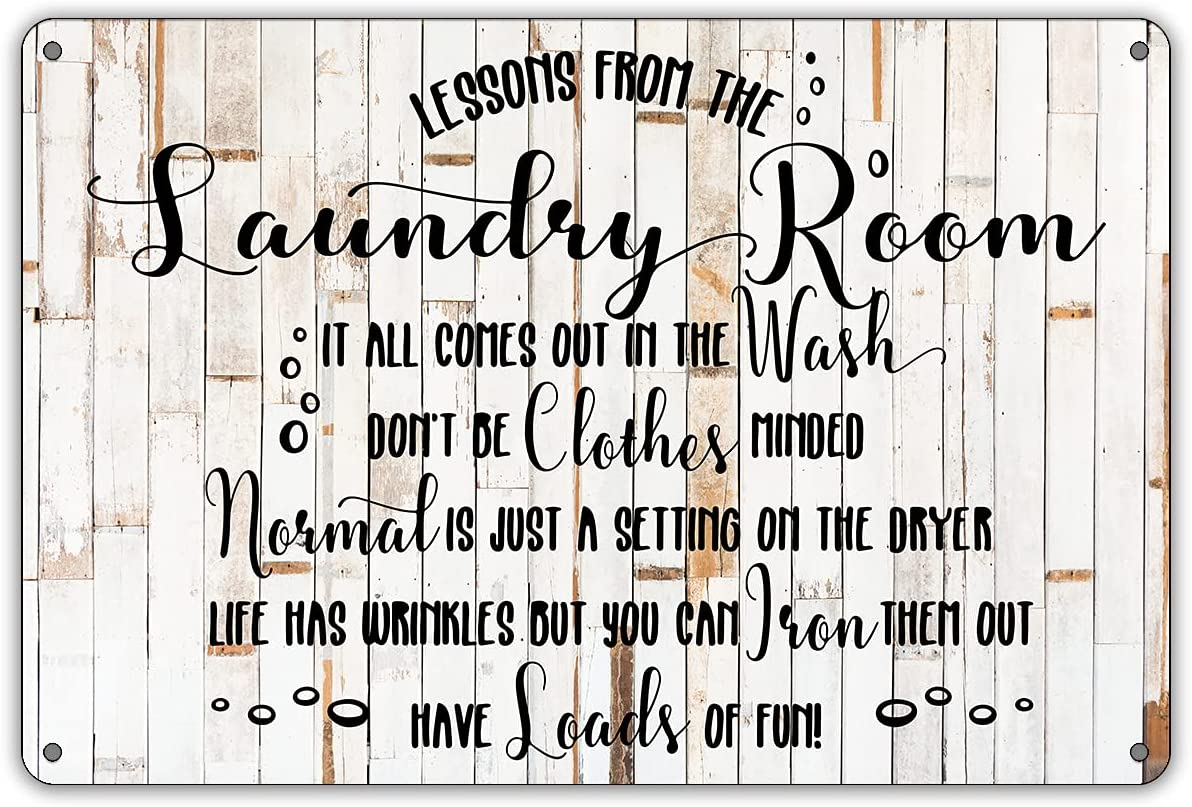 QIONGQI Funny Laundry Room Rules Metal Tin Sign Wall Decor Rustic Farmhouse Laundry Sign for Home Decor Gifts