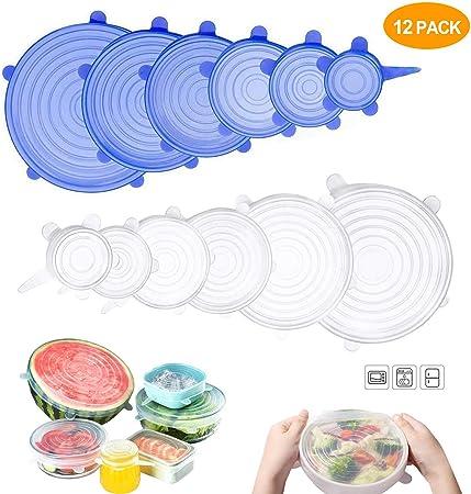 Tapas elásticas de silicona (12 unidades) - varios tamaños de ...