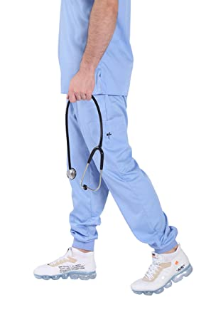 e3d41abcc53 Image Unavailable. Image not available for. Color: Men Ceil Blue Mim Jogger  Scrub Pants 2.0