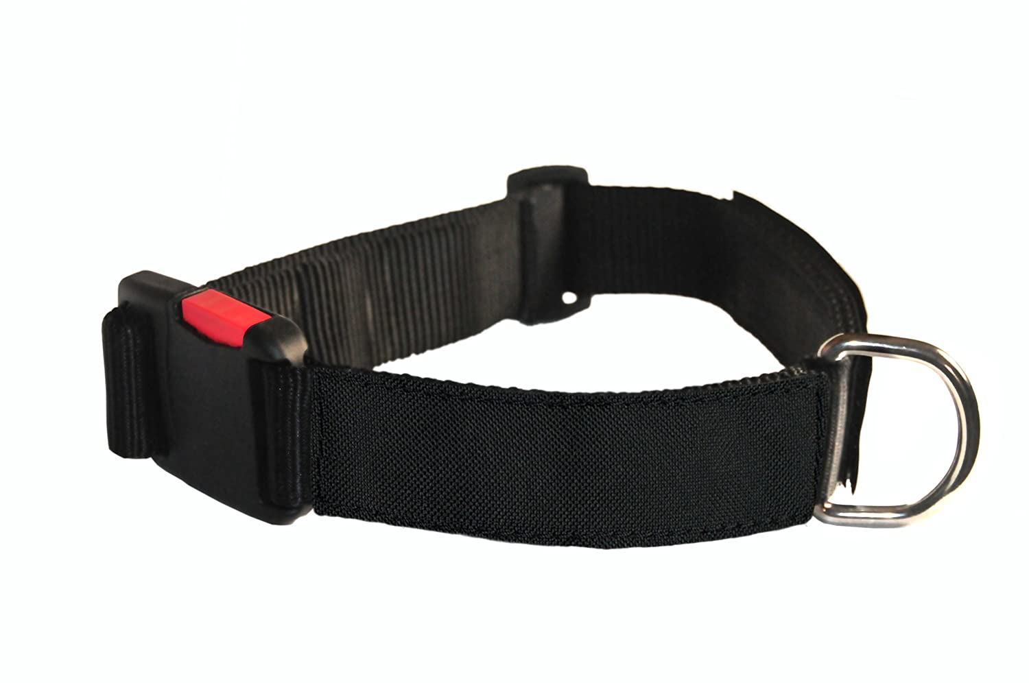 Dean & Tyler 26-inch to 37-inch Nylon Dog Collar with Clear Patches, Large, Black