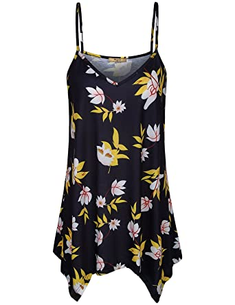 015d700d3b8832 Miusey Cami Tops for Women, Ladies Business Casual Clothing High Low Hem Floral  Print Tunic