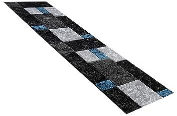 Teppich Läufer Modern teppich läufer modern karomuster türkis in 80 x 300 cm