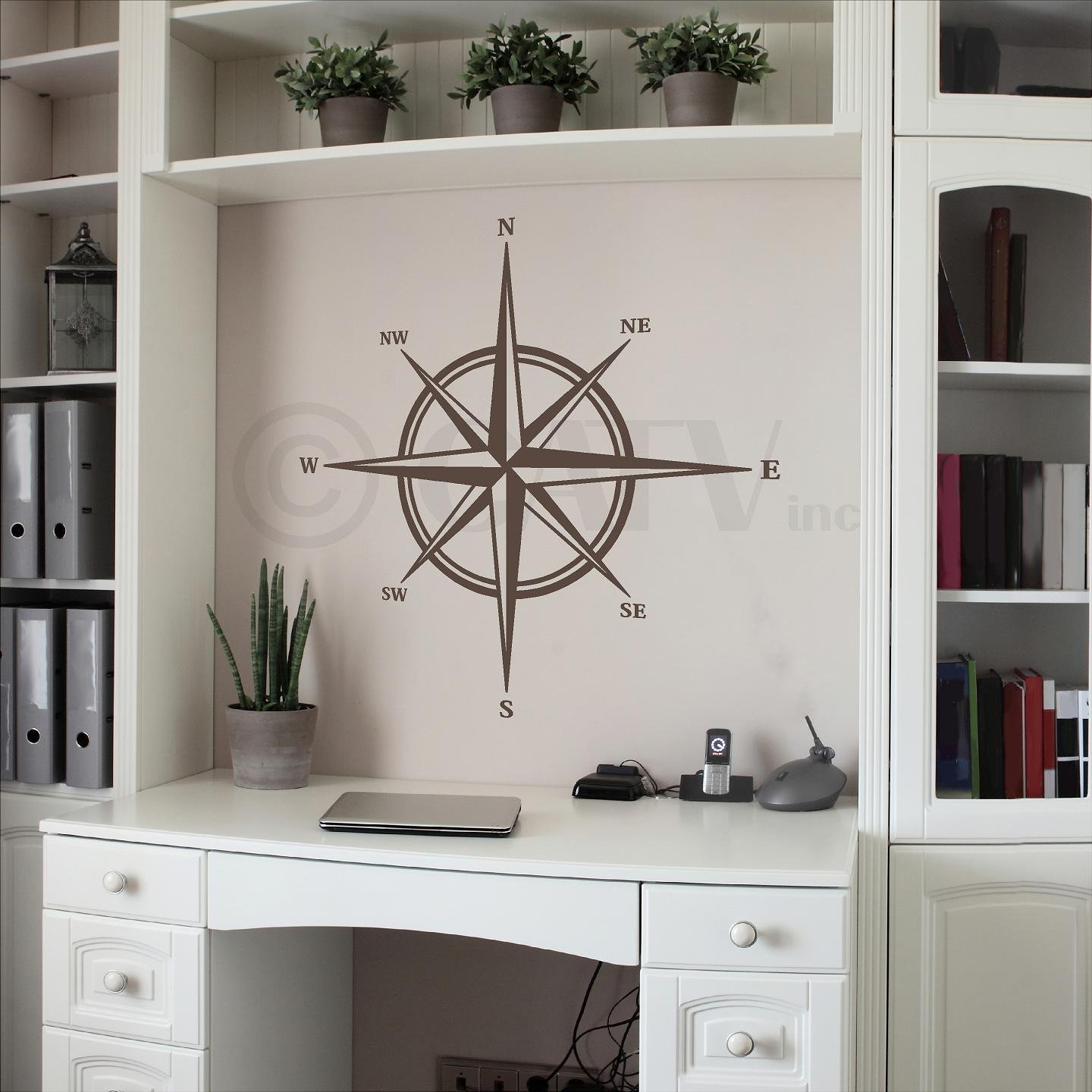 Compass vinyl wall decal sticker (22''H x 22''W, Metallic Bronze) by Wall Sayings Vinyl Lettering