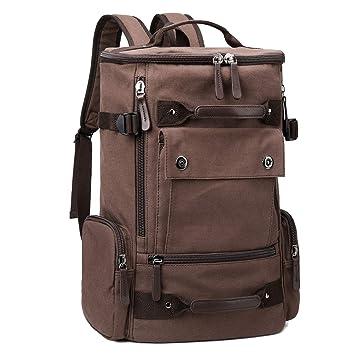 1e9e2e786b Amazon.com  Canvas Backpack Mens College Laptop Rucksack Bookbags for School  (Coffee-1)  FRONET