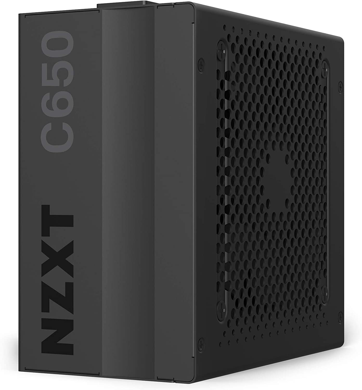 NZXT C650 - NP-C650M - 650 Watt PSU - 80+ Gold Certified - Hybrid Silent Fan Control - Fluid Dynamic Bearings - Modular Design - Sleeved Cables - ATX Gaming Power Supply - 10 Year Warranty