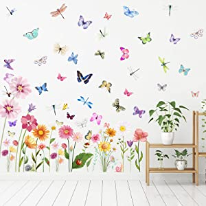 80 Pieces Flowers Butterflies Wall Decals Chrysanthemums Dragonflies Wall Sticker Flowers Peel and Stick Wall Art Removable PVC Garden Decal for Kids Room Nursery Classroom Bedroom Decor, Colorful