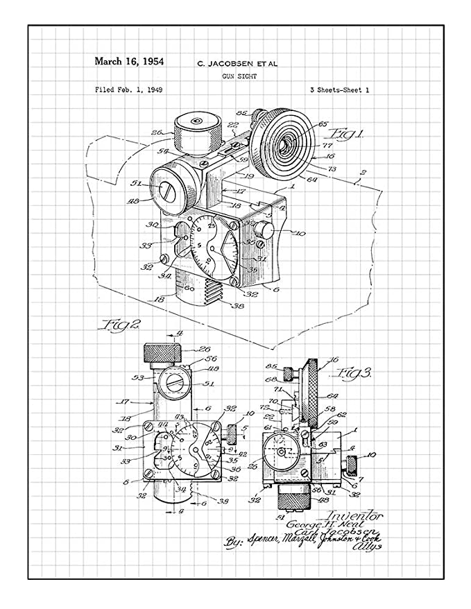 Amazon Com Gun Sight Patent Print Art Poster Black Grid 8 X 10