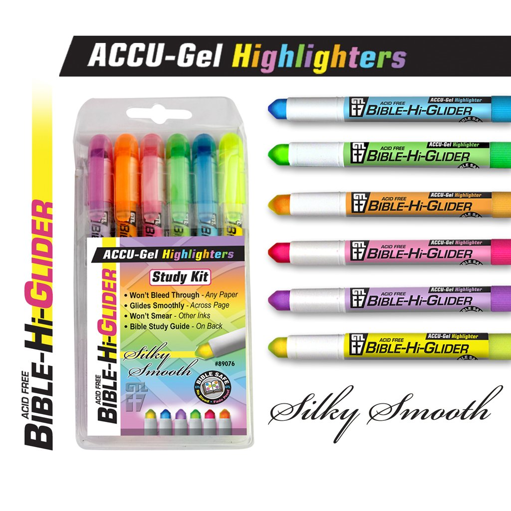 GTL Bible Study Bundle 6 Accu-Gel Gel Highlighters and 8 Pigma Micron Multi Color Fine and Medium Point by G.T. Luscombe Company, Inc. (Image #3)