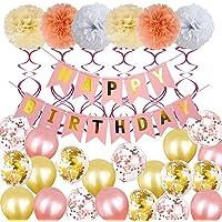 HomeChi Decoraciones de cumpleaños, globos Suministros de fiesta de cumpleaños para niñas y mujeres, incluyendo feliz cumpleaños Banner Globos Confeti Rosa oro Pompones Flores Puntos Guirnalda Colgantes Remolinos