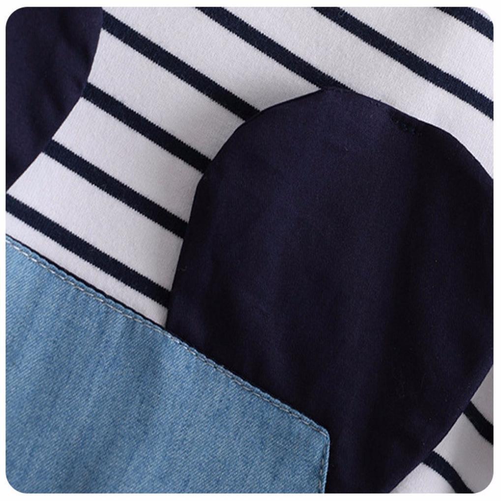 Gotd Girls Stripe Mouse Short Sleeve Denim Dress Clothes
