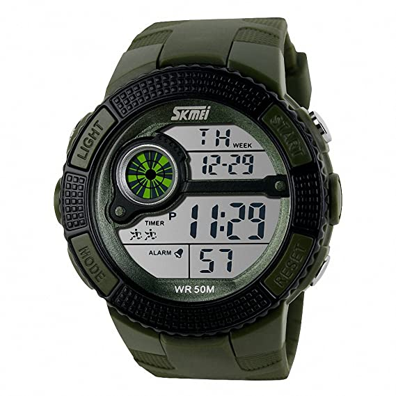 Skmei reloj Digital Unisex Hombres PU correa de caucho impermeable calendario alarma luz nocturna + caja: SKMEI: Amazon.es: Relojes