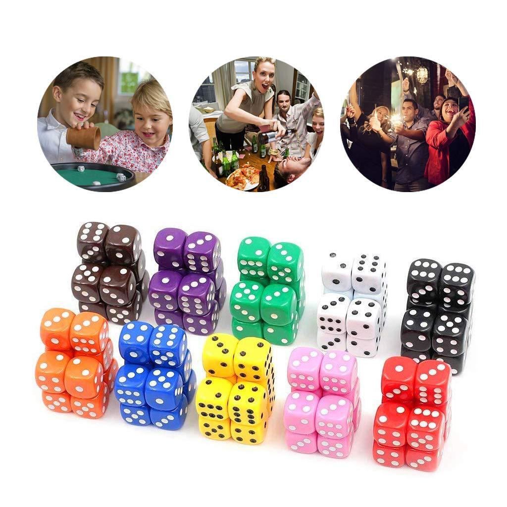 Aynsv 100 Pieces Game Dice Set 10 Farben Square Corner Dice mit Einer kostenlosen Aufbewahrungstasche
