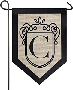 Oarencol Classic Monogram Letter C Garden Flag Double Sided Home Yard Decor Banner Outdoor 12.5 x 18 Inch