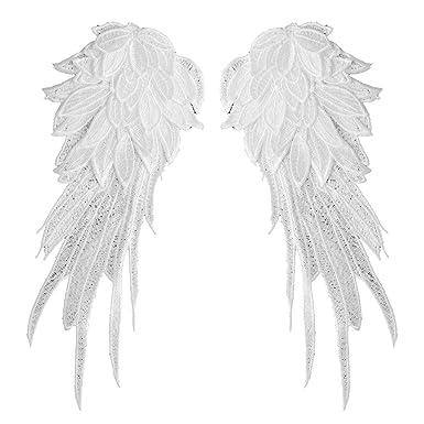 dPois - Disfraz de ángel para mujer, color blanco y negro, bordado ...