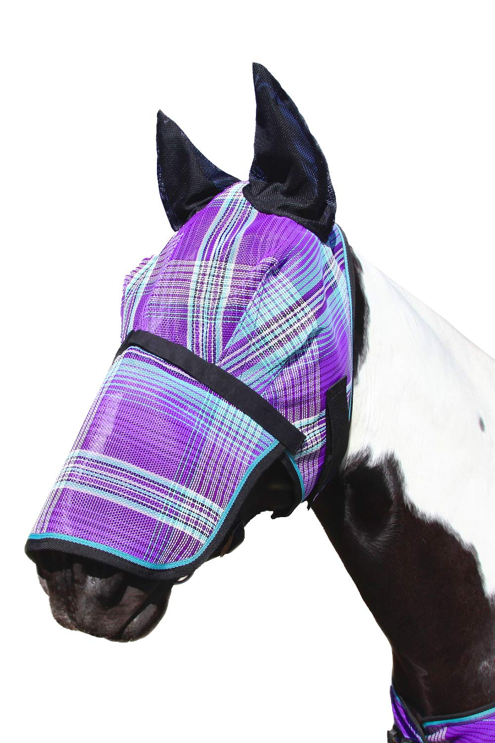 Kensington Signature Fly Mask with Removable Nose and Soft Mesh Ears - Protects Horses Face, Nose and Ears from Biting Insects and UV Rays While Allowing Full Visibility (L, Lavender Mint)