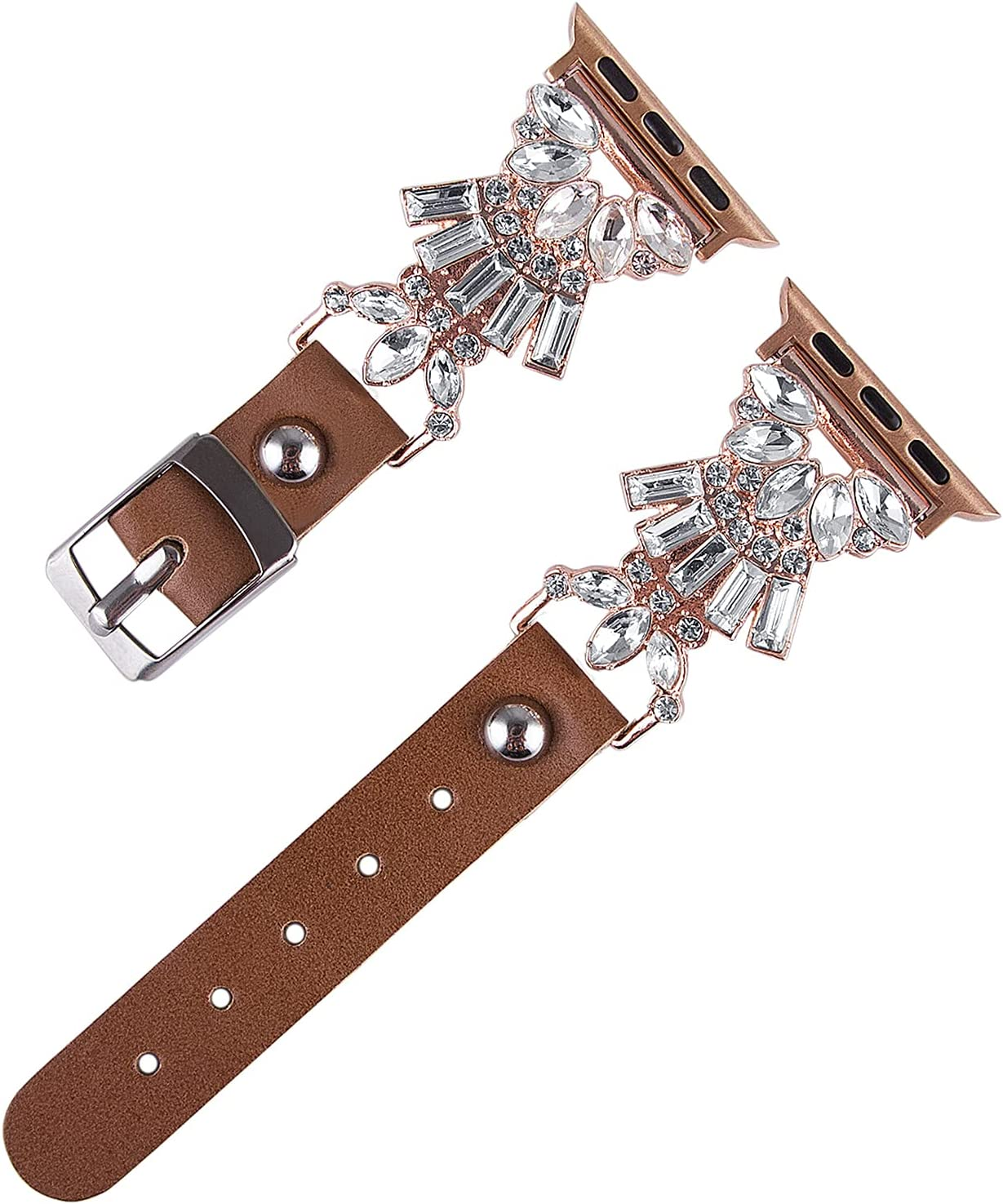 Vikoros Jewelry Band Compatible with Apple Watch Bands' 38mm 40mm 42mm 44mm iWatch Series 6/5/4/3/2/1 SE Women Girls, Leather Bling Bracelets Crystal Diamonds Dressy Metal Wristband Strap Accessories