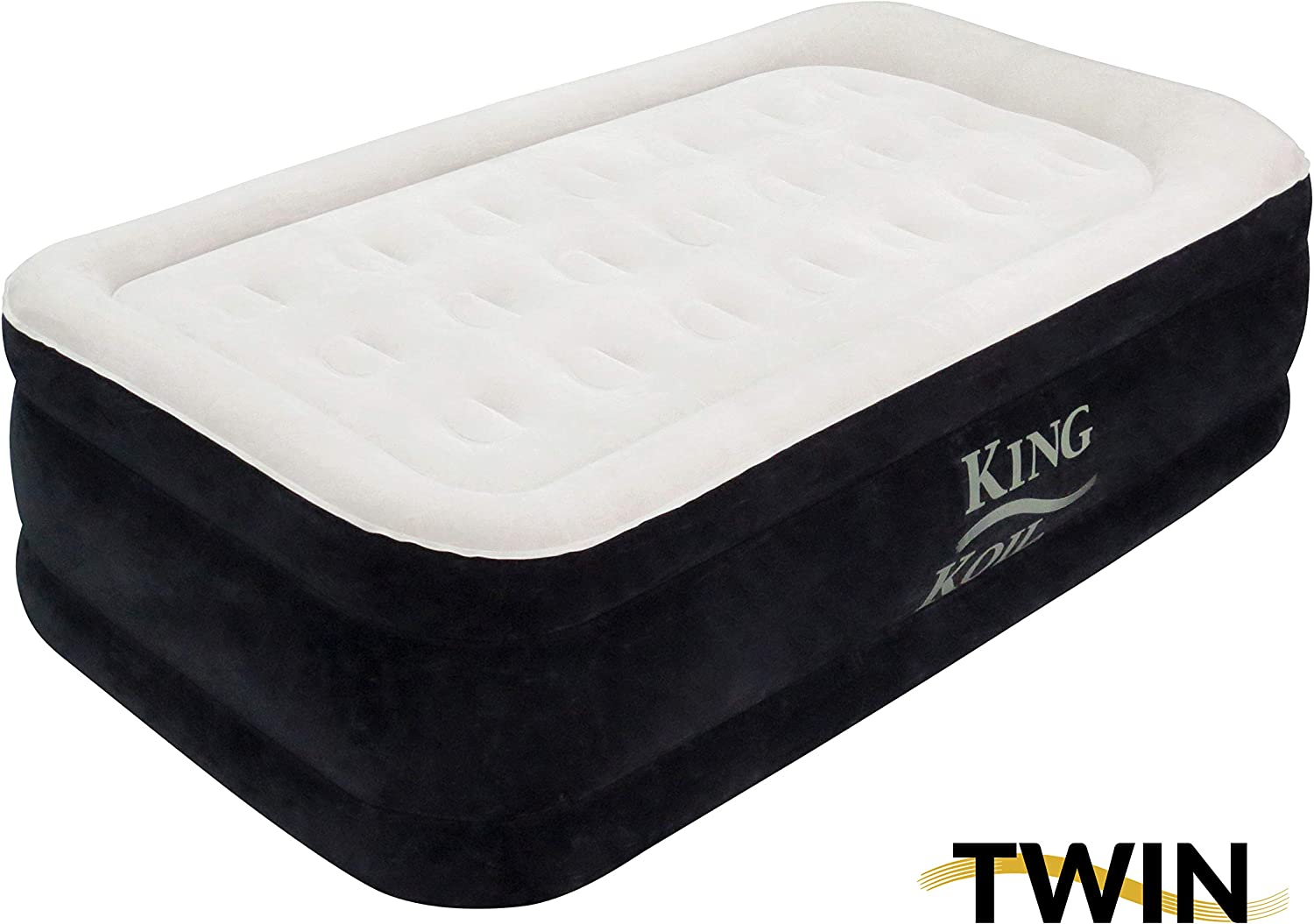 King Koil Twin Air Mattress with Built-in Pump - Double High Elevated Raised Airbed for Guests with Comfortable Top ONLY Bed with 1-Year Manufacturer ...