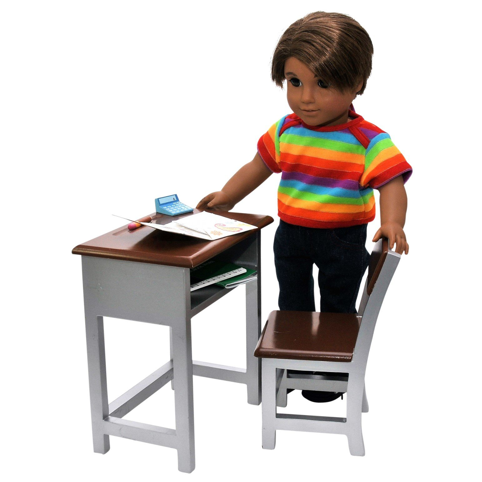 Wooden Modern School Desk & Chair and Storage Shelf Plush School Supply Accessories Including Folder, Paper, Journal, Pencil, Calculator, Ruler Sized For 18 Inch American Girl Dolls