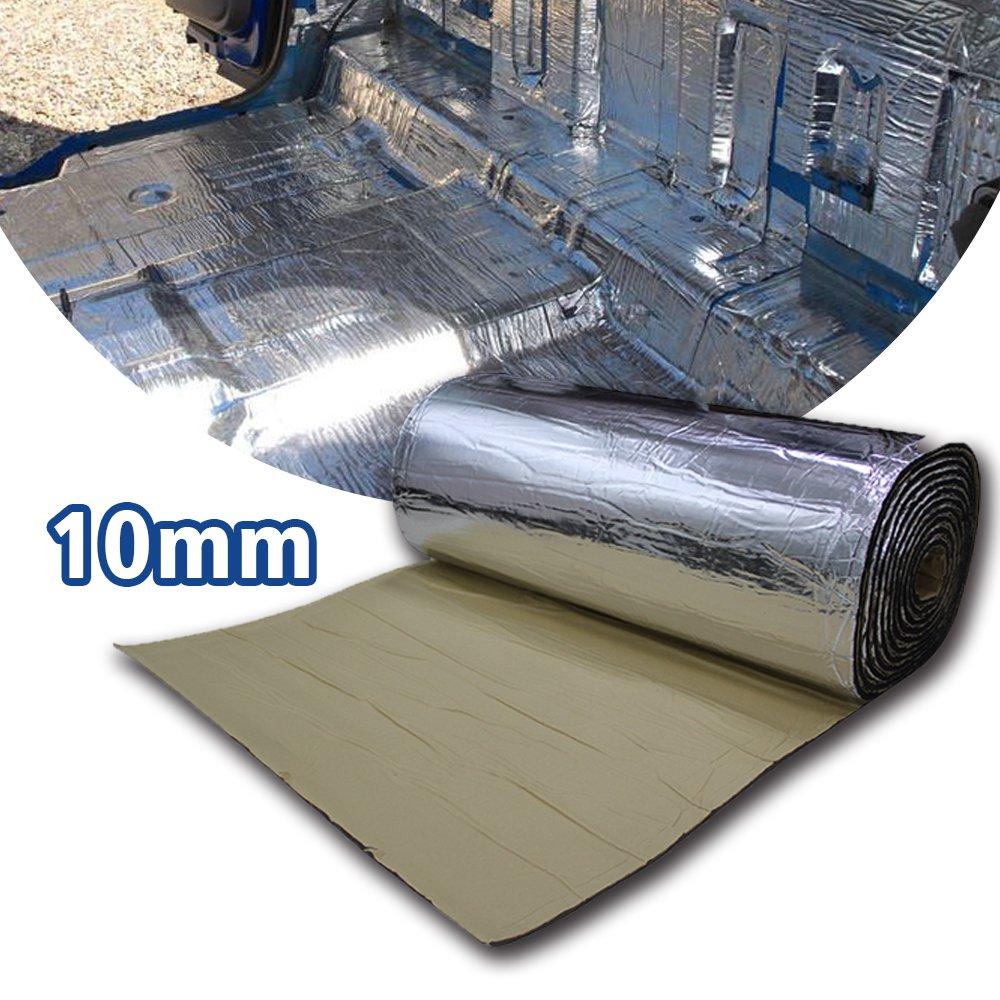 LINGDA 10.76 SqFT 10mm Heat Shield Thermal Sound Insulation Proofing Deadener Mat Car Noise Control Acoustic Dampening Moistureproof Waterproof (40inch X 40inch)