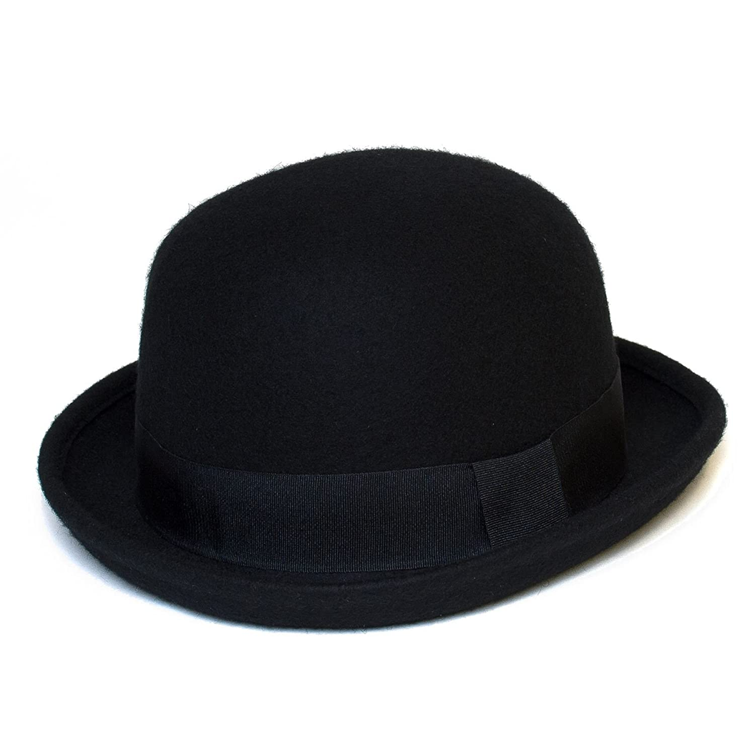 100% Wool Soft Version of Classic American Style Derby Hat Made from 100% Wool Felt, with Grosgrain Ribbon Band - Ladies Womens Mens Unisex (Black) Hat To Socks
