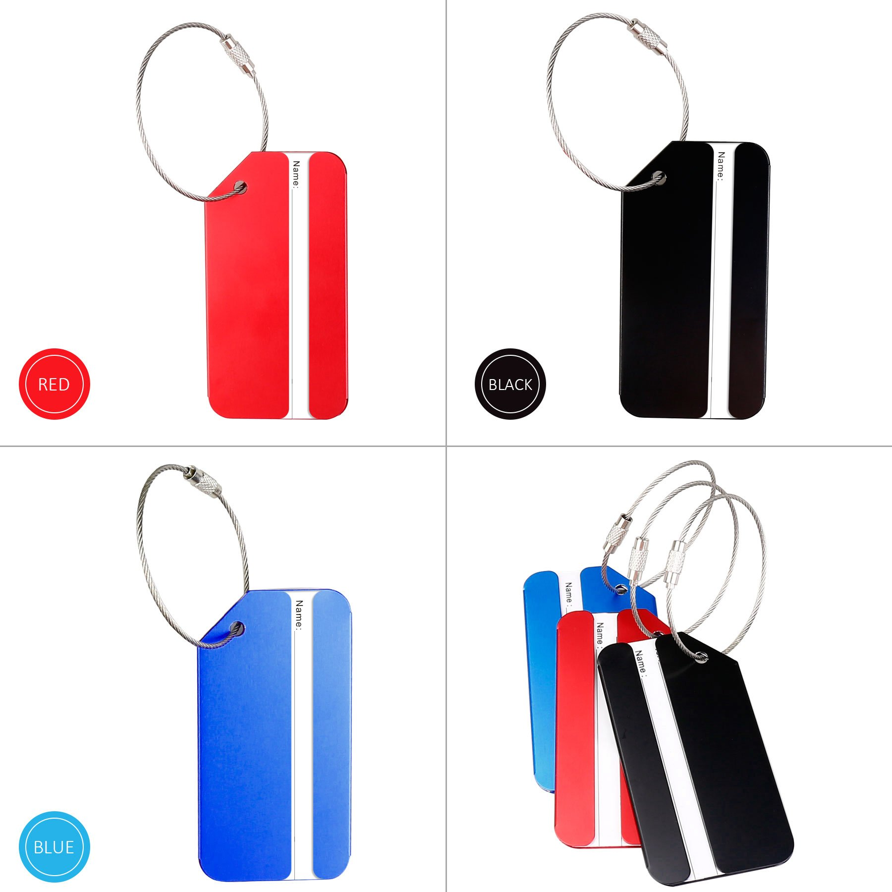 Luggage Tags 6 Pack Travel Bag Tags Women Men Aluminum Suitcase Tag with Stainless Steel Loop (2 black, 2 red, 2 blue) by HONITURE (Image #2)