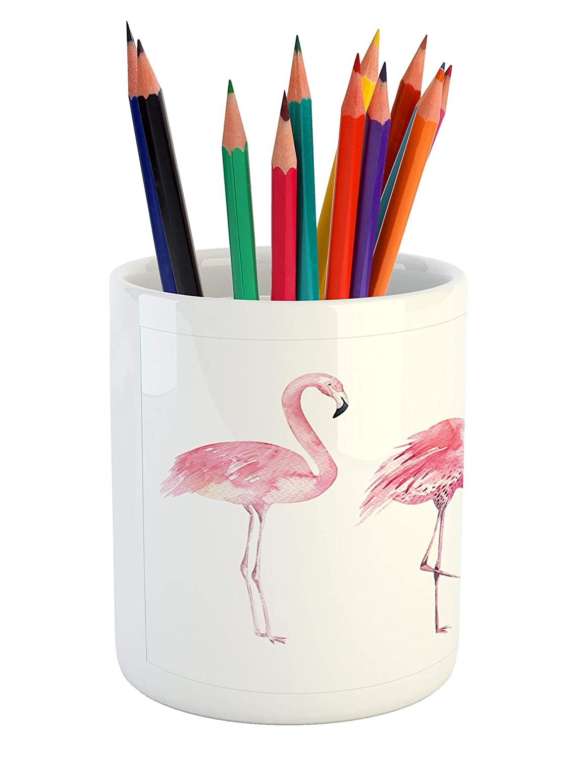 Lunarable Pink Flamingo Pencil Pen Holder Printed Ceramic Pencil Pen Holder for Desk Office Accessory Exotic Birds Watercolors Nature of Brazil Rainforests Aloha Wildlife Pale Pink and White