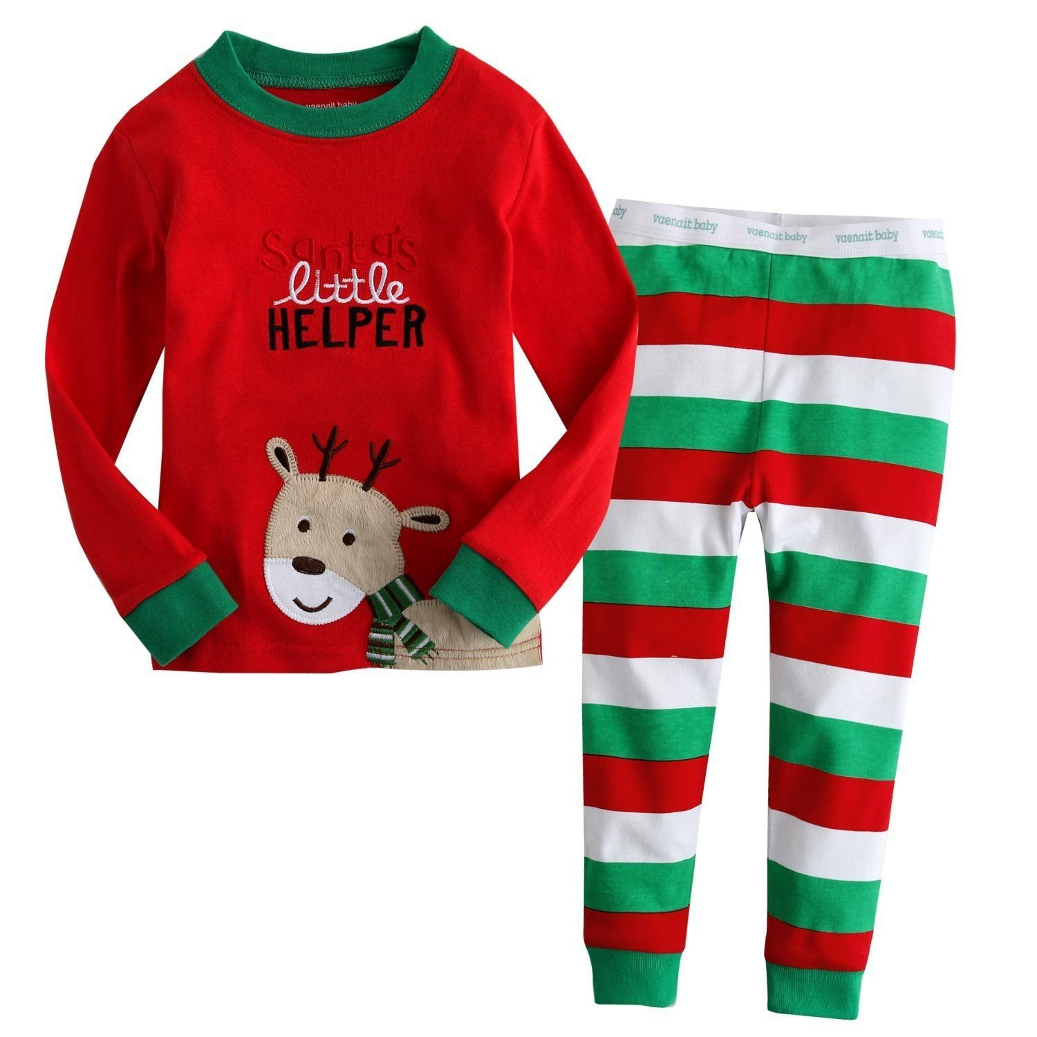 Little Boys Girls' Flying Reindeer Christmas Pjs Sleepwear Cotton Pajamas Sets Bling Stars PS-01-9310-01