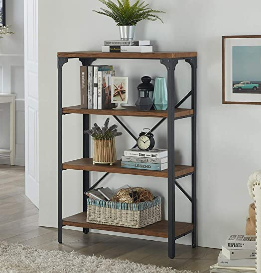 Homissue 4-Shelf Vintage Style Bookshelf, Industrial Open Metal bookcases Furniture, Etagere Bookcase for Living Room Office, Brown, 48.2-Inch Height