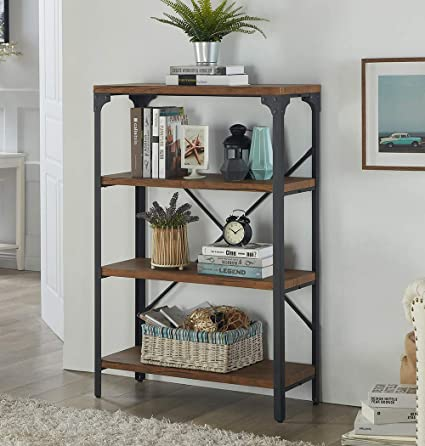 Homissue 4 Shelf Vintage Style Bookshelf Industrial Open Metal Bookcases Furniture Etagere Bookcase