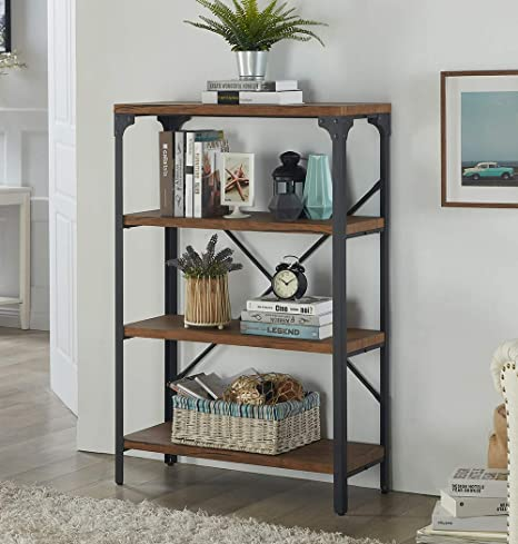 Homissue 4-Shelf Vintage Style Bookshelf, Industrial Open Metal bookcases  Furniture, Etagere Bookcase for Living Room & Office, Brown, 48.2-Inch ...