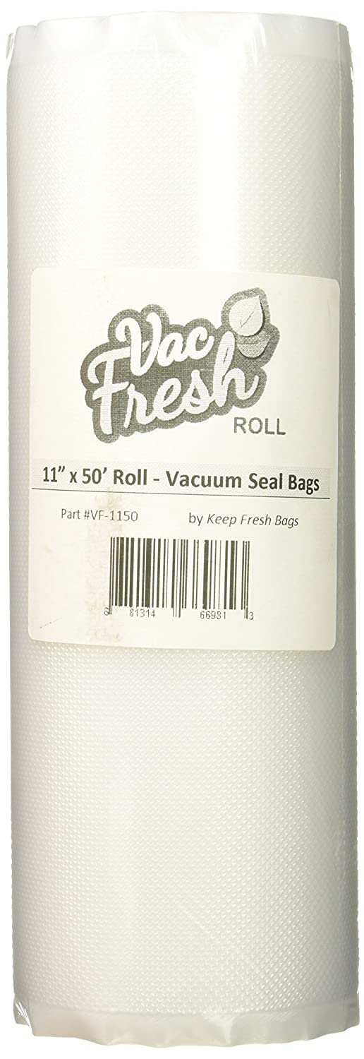 Vac-Fresh Roll Vacuum Sealer Bags, 11 inch x 50 feet, 3.5mil, Compatible with all Food Save Vacuum Sealers, 1 Roll