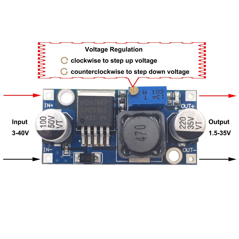 Valefod 6 Pack Lm2596 Dc To High Efficiency Voltage Regulator Circuit Direct 30 40v 15 35v Buck Converter Diy Power Supply Step Down Module Automotive