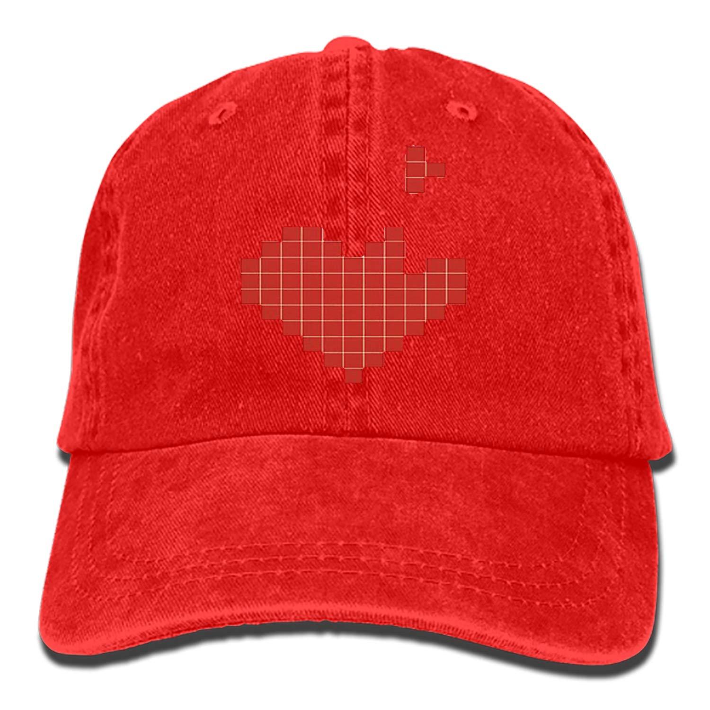 SHUANGRENDE Men Women Camp Hair Heart Cotton Denim Baseball Hat Adjustable Street Rapper Hat