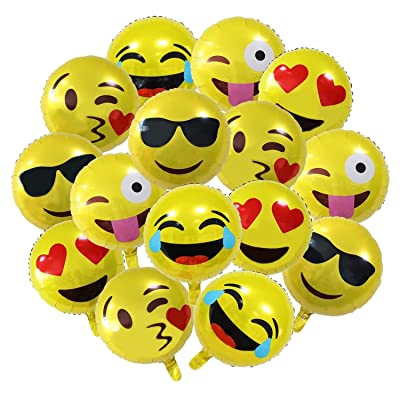 "15-Pack 18"" Emoji Party Supplies Favor Balloons, 18 inch Smiley Face Foil Mylar Balloon, Yellow Reusable Helium Emoticon Balloon for Holiday Wedding Birthday Decorations Teens Girls Children Kids Gift: Toys & Games"