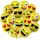 """18"""" Party Emoji Mylar Balloon, NALAKUVARA Bright Yellow Clolor 18 inch Smiley Face Latex Helium Balloons for Party, Birthday or Holiday Decoration (15 PACK)"""