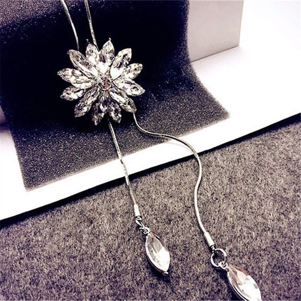 Women Rhinestone Sweater Necklace Crystal Lotus Pendant Long Chain Jewelry Gift Endand