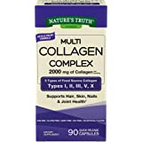 Multi Collagen Protein Capsules | 90 Count | Type I, II, III, V, X | Collagen Peptide Pills | Non-GMO, Gluten Free Supplement | by Nature's Truth