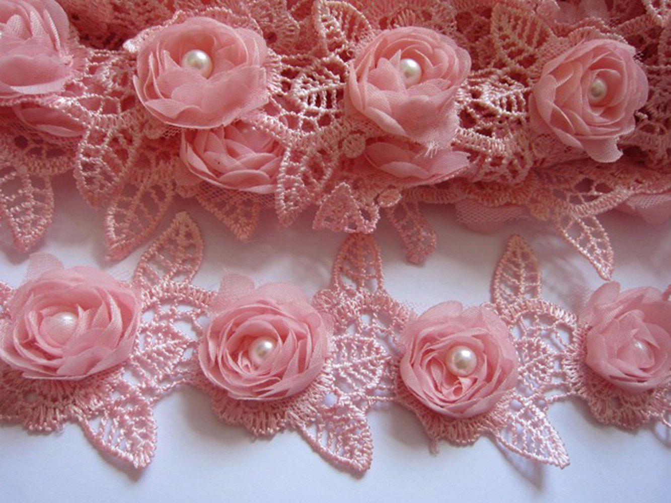 YYCRAFT Pack Of 2y Chiffon Rose 2.5 Lace Edge Trim Pearl Wedding Applique DIY Sewing Craft-White
