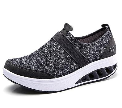 lovejin Mujer Adelgazar Zapatos Sneakers Deporte Cuña Zapatos Plataforma  Sneakers Caminar Fitness Transpirable  Amazon.es  Zapatos y complementos 944d7474ceb8