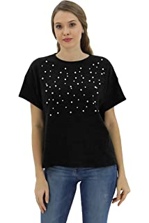 f3dcb23c9dc8f BENANCY Women's Pearl Beaded Short Sleeve Crewneck Warm T-Shirt Blouse Top