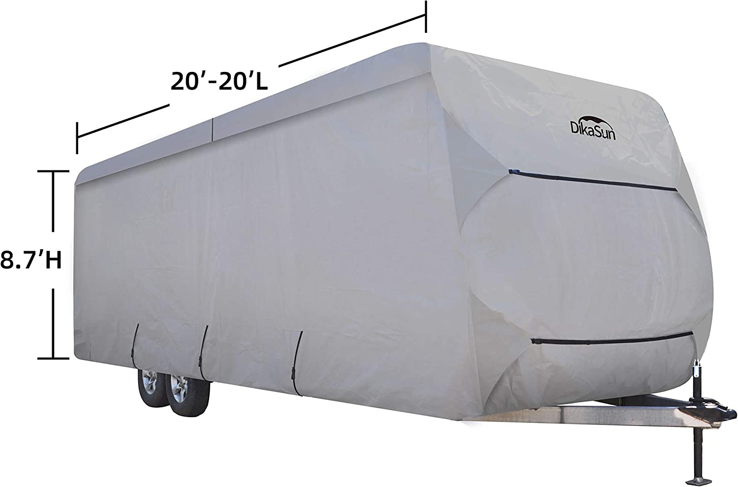 DikaSun Travel Trailer RV Cover PolyPro 3 Layer Anti-Dust Protection Windproof Anti-UV Block Cover fits 27ft 30ft