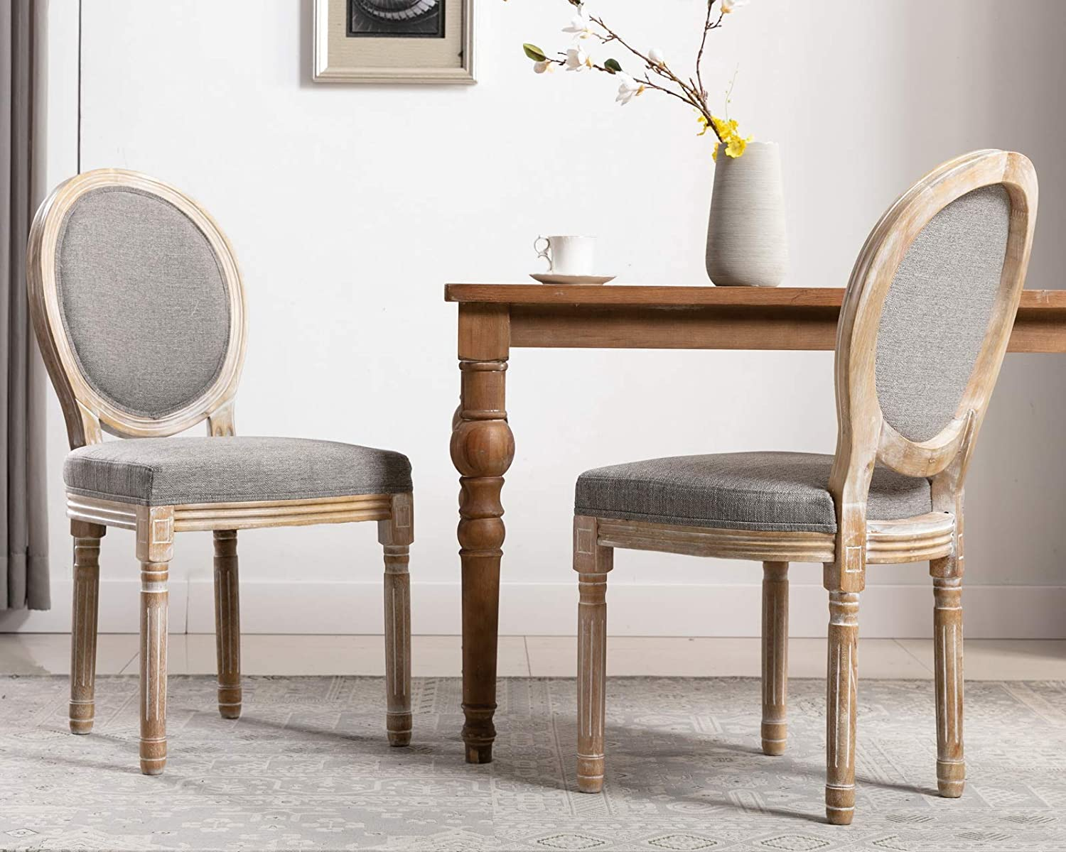 CIMOTA French Dining Chairs Set of 2, Upholstered Vintage Elegant Farmhouse Chair with Round Back Distressed Wood, Mid Century Fabric Side Chairs for Dining Room Bedroom Restaurant, Grey