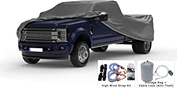 5L Outdoor /& Indoor Sun Weatherproof Truck Cover Compatible with 2010-2019 Dodge Ram 3500 Crew Cab~6.3 Ft Bed Protect from Rain Hail Theft Cable Lock Bag /& Wind Straps Snow