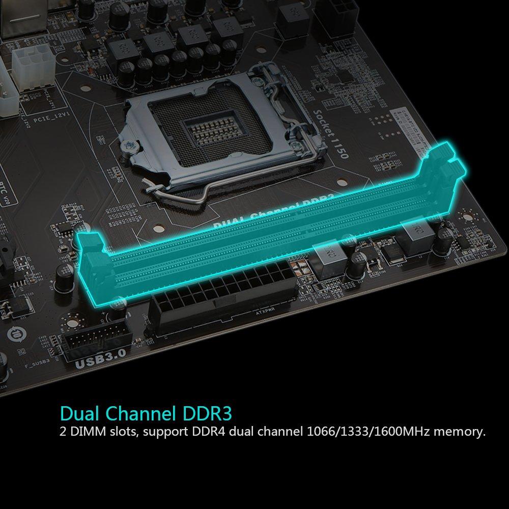 KKmoon Colorful C.H81A-BTC V20 Motherboard Systemboard for Intel H81/LGA1150 Socket Processor DDR3 SATA3.0 ATX Mainboard for Miner Mining Desktop by KKmoon (Image #5)