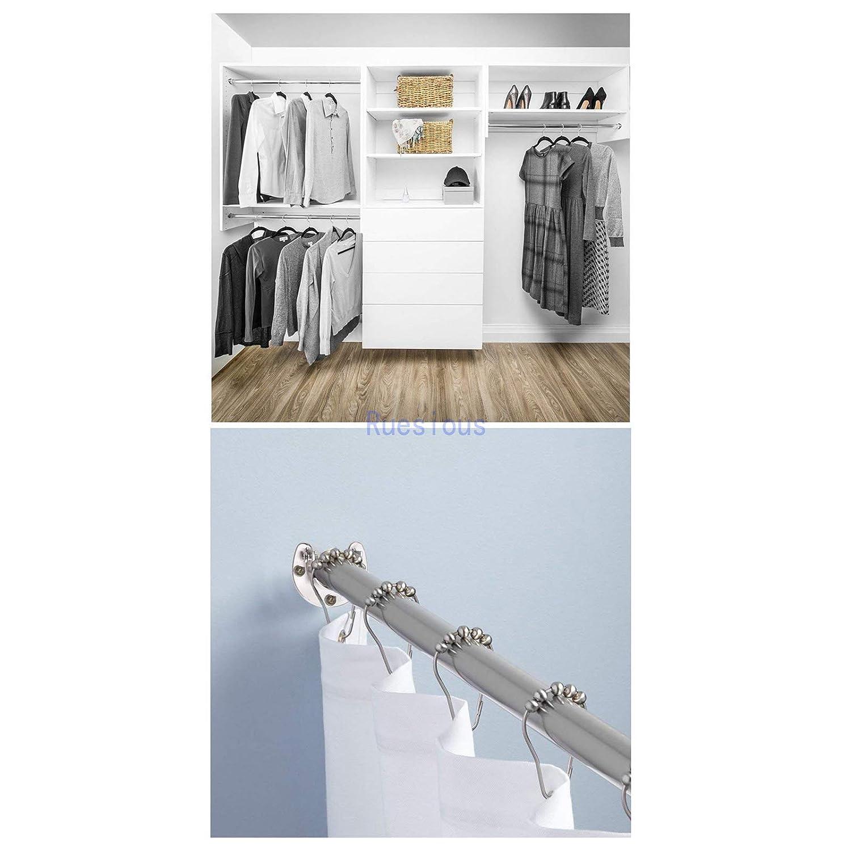 Ruesious Set de 2 soportes ajustables,Soporte para barra de armario para barra de armario,soportes para barra de cortina de ducha de armario