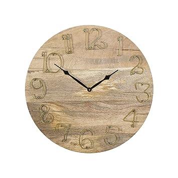 Belssia Reloj Pared Madera Marrón Dorado y Negro 50x50x4 cm: Amazon.es: Hogar