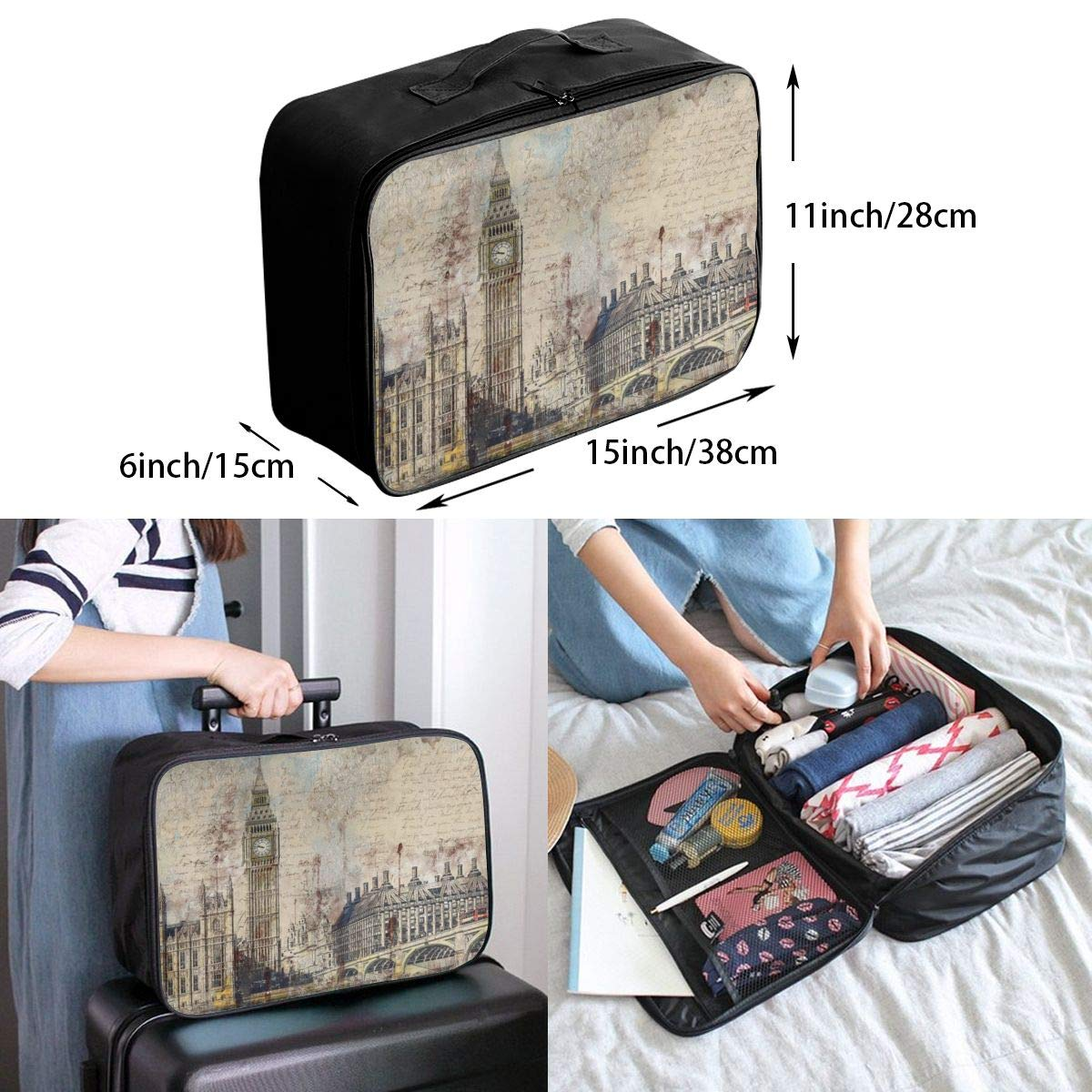 London Westminster Bridge Nostalgia Thames Travel Lightweight Waterproof Foldable Storage Carry Luggage Large Capacity Portable Luggage Bag Duffel Bag