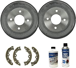 Detroit Axle - Pair (2) Rear Brake Drums with Ceramic Brake Shoes w/Brake Cleaner & Fluid for 2001 2002 2003 2004 2005 2006 Nissan Sentra