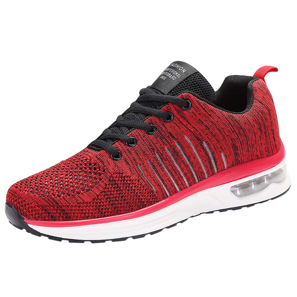 Outdoor Mens Walking Shoe - Running Athletic Tennis Flats Breathable Lace-Up Air Cushion Shockproof Sneakers