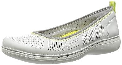 9bcd1de35f1 Ladies Clarks un Elita White Casual Flat Shoes  Amazon.co.uk  Shoes ...